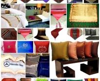 หมอนผ้าไหม, หมอนโชว์,  หมอนใบชา, ผ้าคาดเตียง, ผ้าคาดโต๊ะ, ผ้ารองจาน,